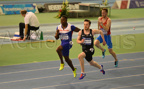27.02.2016. EIS Sheffield, Sheffield, England. British Indoor Athletics Championships Day One. Harry Aitkines-Aryeetey and Kyle De Escofet placed 1st and 2nd in their heat of the 60m.