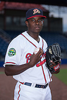 Danville Braves pitcher Bladimir Matos (40) poses for a photo prior to the game against the Pulaski Yankees at American Legion Post 325 Field on August 2, 2016 in Danville, Virginia.  The game was cancelled due to rain.  (Brian Westerholt/Four Seam Images)