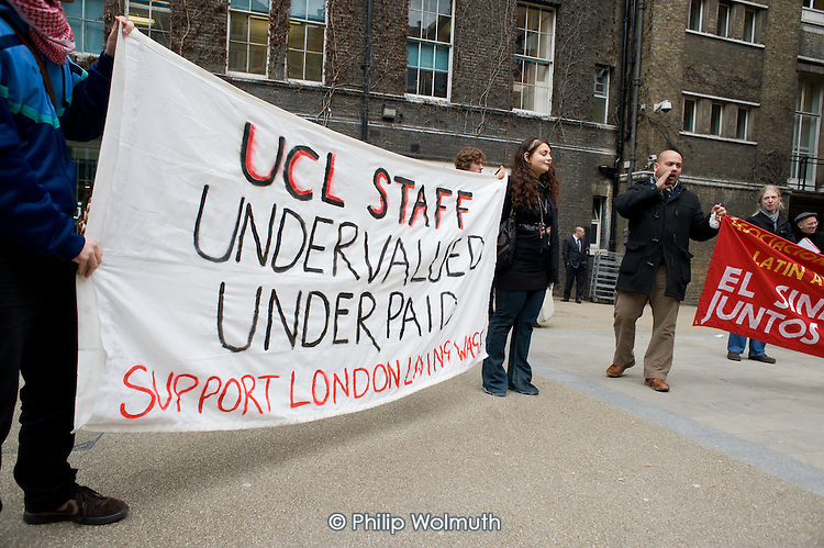 Demonstration at University College London organised by UCL's Living Wage Campaign in support of Juan Carlos Piedra Benitez, who was sacked by  cleaning contractor Office & General following his involvement in a trade union campaign for improved pay and conditions.