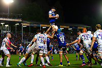 Josh Bayliss of Bath Rugby wins the ball at a lineout. Gallagher Premiership match, between Bath Rugby and Exeter Chiefs on October 5, 2018 at the Recreation Ground in Bath, England. Photo by: Patrick Khachfe / Onside Images