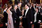 Queen Letizia, Juliana Awada, President of Argentine Republic, Mauricio Macri, King Felipe VI of Spain and president of Spain Mariano Rajoy during the gala dinner given to the President of the Argentine Republic, Sr. Mauricio Macri and Sra Juliana Awada at Real Palace in Madrid, Spain. February 19, 2017. (ALTERPHOTOS/BorjaB.Hojas)