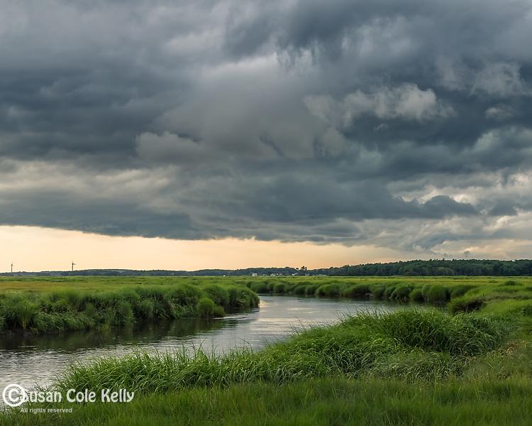 Storm clouds over the Great Marsh in Newbury, Massachusetts, USA