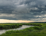 Storm clouds over the Great Marsh in Newbury, Massachusetts, USA
