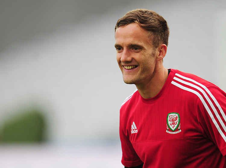 Wales's Andy King during todays training session<br /> <br /> Photographer Kevin Barnes/CameraSport<br /> <br /> International Football - 2016 UEFA European Championship - Training Session - Group B - England v Wales - Wednesday, 15th June 2016 - Stade Bollaert-Delelis, Lens Agglo, France<br /> <br /> World Copyright &copy; 2016 CameraSport. All rights reserved. 43 Linden Ave. Countesthorpe. Leicester. England. LE8 5PG - Tel: +44 (0) 116 277 4147 - admin@camerasport.com - www.camerasport.com