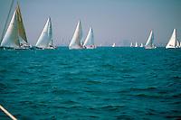 Sailing, 30' Sailboat Racing Southern California, Long Beach, Ca, Pacific Ocean, USA