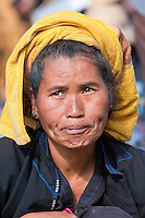 Myanmar, Burma.  Burmese Woman of Pa-O Ethnic Group at Local Market, Inle Lake, Shan State.