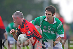 Gavin Wrenn Milltown/Castlemaine tackles Kieran Browne Clondegad in the quarter final of the Munster Intermediate Club championship at Milltown on Sunday