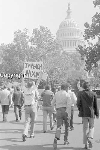"Demonstrators in Washington, DC, with sign ""Impeach Nixon."", 22 October 1973<br /> <br /> PHOTO : Marion S. Trikosko or Thomas J. O'Halloran"