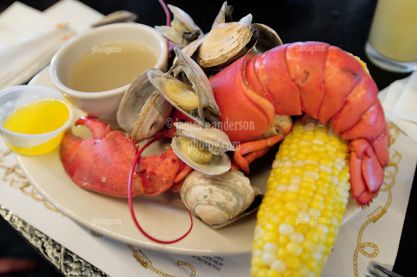 """Lobster Platter, or what's commonly known as a """"Shore Dinner"""" at J's Oyster, Portland Maine"""