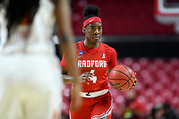 College Park, MD - March 23, 2019: Radford Highlanders guard Khiana Johnson (4) brings the ball up court during first round action of game between Radford and Maryland at Xfinity Center in College Park, MD. Maryland defeated Radford 73-51. (Photo by Phil Peters/Media Images International)