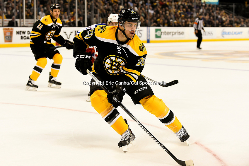 January 15, 2015 - Boston, Massachusetts, U.S. - Boston Bruins left wing Daniel Paille (20) in game action during the NHL match between the New York Rangers and the Boston Bruins held at TD Garden in Boston Massachusetts. The Bruins defeated the Rangers 3-0 in regulation time. Eric Canha/CSM