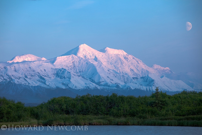 Mount Foraker at 17,400' is the second highest mountain in the Alaska Range. The midnight sun casts a soft light on the summit.  Denali National Park, Alaska.  Details of the landscape are preserved using HDR processing.