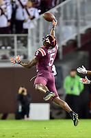 Blacksburg, VA - SEPT 30, 2017: The ball is thrown just out of reach of Virginia Tech Hokies wide receiver Cam Phillips (5) during game between Clemson and Virginia Tech at Lane Stadium/Worsham Field Blacksburg, VA. (Photo by Phil Peters/Media Images International)