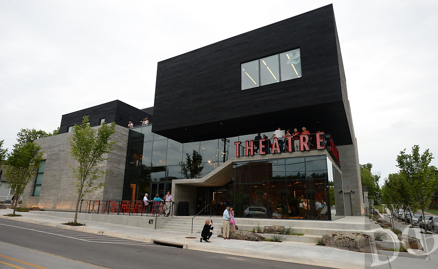 """NWA Democrat-Gazette/ANDY SHUPE<br /> Thursday, Aug. 8, 2019, during a tour of the new TheatreSquared facility in Fayetteville. The main building houses two theaters, a rehearsal room, offices, education and community space, design workshops and a cafe and bar. A separate building to the south has eight guest-artist apartments. Outdoor areas include a patio on Spring Street, a second-level terrace on West Avenue and a rooftop deck. The theater company opens its new venue with a production of """"Shakespeare in Love"""" beginning Aug. 14. Visit nwadg.com/photos to see more photographs from the tour."""