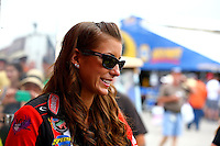 Apr 26, 2014; Baytown, TX, USA; NHRA top fuel driver Leah Pritchett during qualifying for the Spring Nationals at Royal Purple Raceway. Mandatory Credit: Mark J. Rebilas-