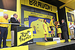 Mike Theunison (BEL) Team Jumbo-Visma wins Stage 1 and wears the first leaders Yellow Jersey of the 2019 Tour de France presented by Eddy Merckx, running 194.5km from Brussels to Brussels, Belgium. 6th July 2019.<br /> Picture: ASO/Olivier Chabe | Cyclefile<br /> All photos usage must carry mandatory copyright credit (© Cyclefile | ASO/Olivier Chabe)