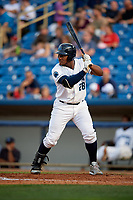 Lake County Captains first baseman Emmanuel Tapia (28) at bat during the first game of a doubleheader against the West Michigan Whitecaps on August 6, 2017 at Classic Park in Eastlake, Ohio.  Lake County defeated West Michigan 4-0.  (Mike Janes/Four Seam Images)