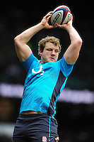 Joe Launchbury of England wins the ball at a lineout during the pre-match warm-up. RBS Six Nations match between England and Italy on February 26, 2017 at Twickenham Stadium in London, England. Photo by: Patrick Khachfe / Onside Images