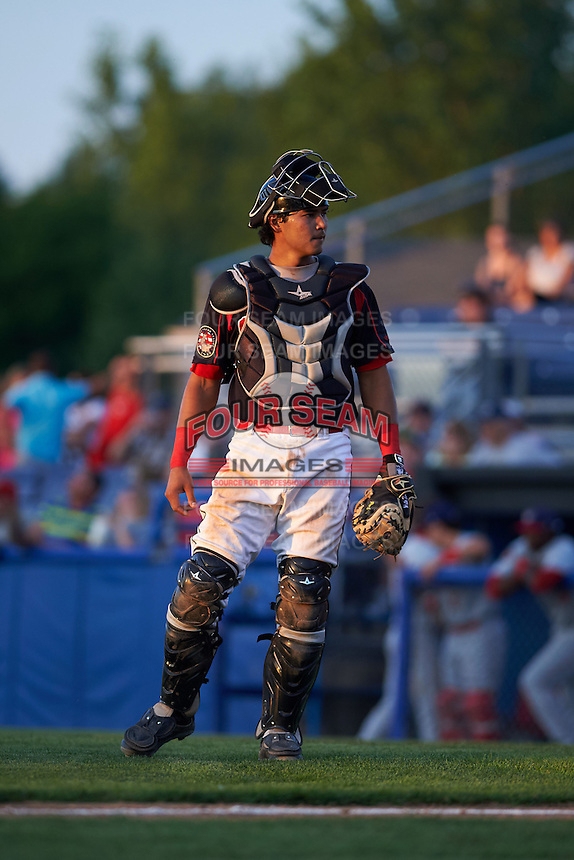 Batavia Muckdogs catcher Brad Haynal (23) during a game against the Auburn Doubledays July 10, 2015 at Dwyer Stadium in Batavia, New York.  Auburn defeated Batavia 13-1.  (Mike Janes/Four Seam Images)