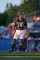 Batavia Muckdogs catcher Brad Haynal (23) during a game against the Auburn Doubledays July 10, 2015 at Dwyer Stadium in Batavia, New York.  Auburn defeated Batavia 13-1.  (Mike Janes/Four Seam Images)
