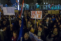 Protest against government corruption in front of the building of the Hungarian Parliament in Budapest, Hungary on November 17, 2014. ATTILA VOLGYI