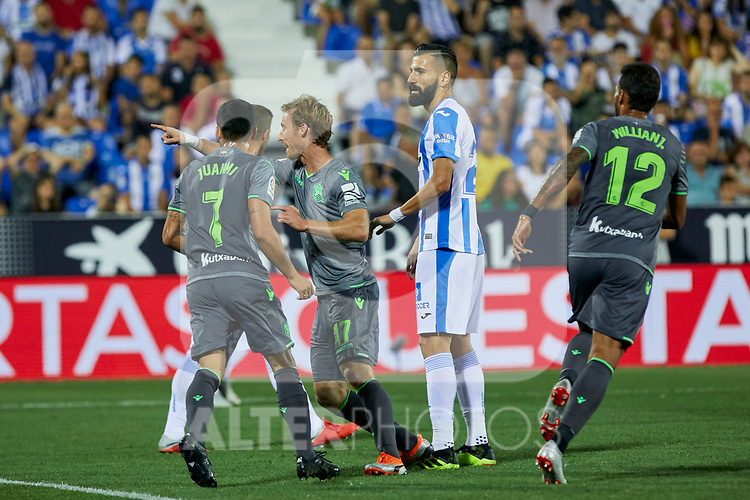 Real Sociedad's Juan Miguel Jimenez (l), David Zurutuza (c) and Willian Jose Da Silva (r) celebrate goal during La Liga match. August 24, 2018. (ALTERPHOTOS/A. Perez Meca)