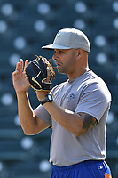 Hitting coach Joel Fuentes during batting practice before a game against the Lakewood BlueClaws on Saturday, May 6, 2017, at Spirit Communications Park in Columbia, South Carolina. Lakewood won, 1-0 with a no-hitter. (Tom Priddy/Four Seam Images)
