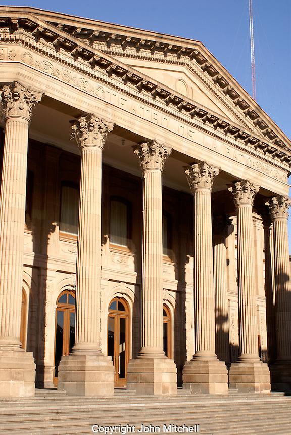 Neoclassical columns of the Teatro de la Paz in the city of San Luis de Potosi, Mexico