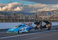 Feb 9, 2019; Pomona, CA, USA; NHRA funny car driver Tim Wilkerson during qualifying for the Winternationals at Auto Club Raceway at Pomona. Mandatory Credit: Mark J. Rebilas-USA TODAY Sports