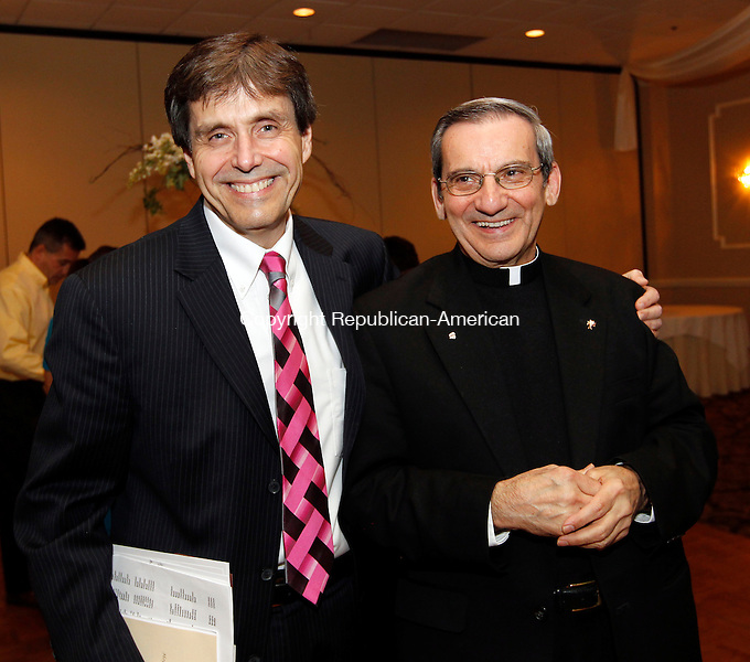 Waterbury, CT- 07, November 2010-110710CM11 Jerry Brennan Chairman of the Board (Carolyn's Place) and founder, Father Robert Russeau at The Caroylon's Place Pregnancy Care Center 18th Anniversary Annual Dinner, Ponte Club Waterbury, Conn.   Christopher Massa Republican-American