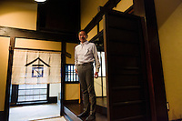 "Tokubee Masuda, CEO of the Tsukinokatsura sake brewery, Fushimi, Kyoto, Japan, October 10, 2015. Tsukinokatsura Sake Brewery was founded in 1675 and has been run by 14 generations of the Masuda family. Based in the famous sake brewing region of Fushimi, Kyoto, it has a claim to be the first sake brewery ever to produce ""nigori"" cloudy sake. It also brews and sells the oldest ""koshu"" matured sake in Japan."