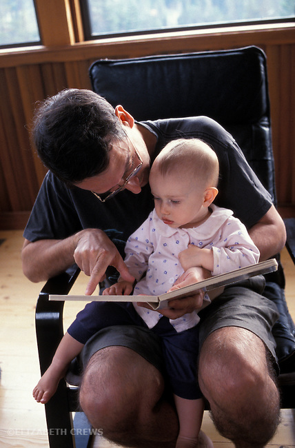 Berkeley CA Father reading to daughter, ten-months-old