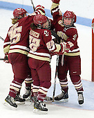 Jackie Young (BC - 25), Mary Restuccia (BC - 22), Ashley Motherwell (BC - 18) - The Boston College Eagles defeated the Harvard University Crimson 4-2 in the 2012 Beanpot consolation game on Tuesday, February 7, 2012, at Walter Brown Arena in Boston, Massachusetts.