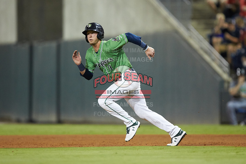 Drew Waters (11) of the Gwinnett Stripers takes off for second base during the game against the Scranton/Wilkes-Barre RailRiders at BB&T BallPark on August 16, 2019 in Lawrenceville, Georgia. The Stripers defeated the RailRiders 5-2. (Brian Westerholt/Four Seam Images)