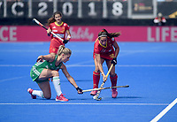 Spain's Maialen Garcia battles with  Ireland's Chloe Watkins<br /> <br /> Photographer Hannah Fountain/CameraSport<br /> <br /> Vitality Hockey Women's World Cup - Ireland v Spain - Saturday 4th August 2018 - Lee Valley Hockey and Tennis Centre - Stratford<br /> <br /> World Copyright &copy; 2018 CameraSport. All rights reserved. 43 Linden Ave. Countesthorpe. Leicester. England. LE8 5PG - Tel: +44 (0) 116 277 4147 - admin@camerasport.com - www.camerasport.com