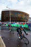 Picture by Alex Whitehead/SWpix.com - 10/09/2017 - Cycling - OVO Energy Tour of Britain - Stage 8, Worcester to Cardiff - Team Sky's Michal Kwiatkowski and Geraint Thomas ride past the Millennium Centre near the stage finish in Cardiff.