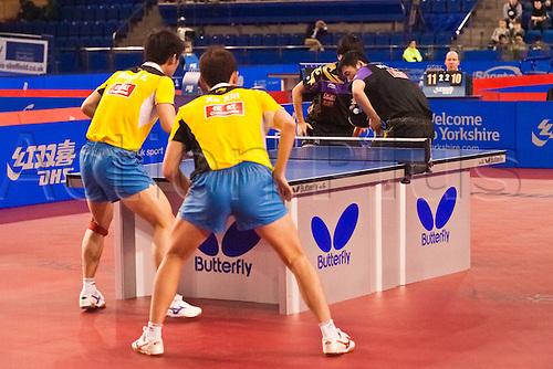 29.01.2011 English Open ITTF Pro Tour Table Tennis from the EIS in Sheffield. Xin Xu and Jike Zhang of China play Liqin Wang and Qi Chen of China