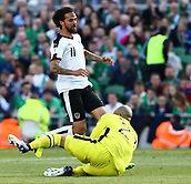 June 11th 2017, Dublin, Republic Ireland; 2018 World Cup qualifier, Republic of Ireland versus Austria;  Darren Randolph of Ireland blocks Martin Harnik of Austria shot on goal