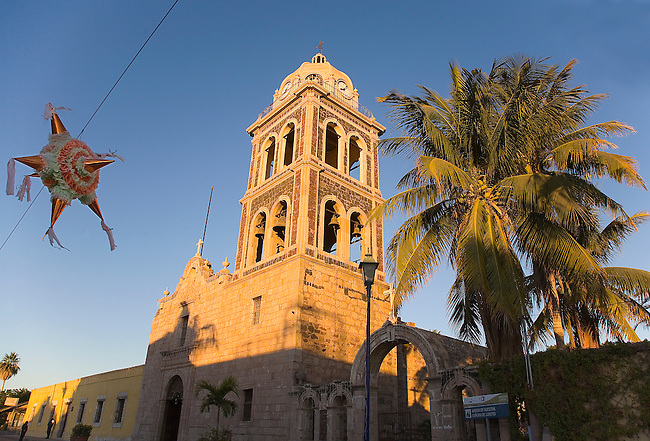 THE MISION NUESTRA SENORA DE LORETO STANDS TALL IN THE MORNING LIGHT AT CHRISTMAS IN LORETO,MEXICO