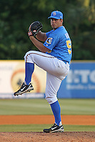 JJ Hoover of the  Myrtle Beach Pelicans.pitching during a game against the Winston-Salem Dash on April 22, 2010 in Myrtle Beach, SC. Photo by Robert Gurganus/Four Seam Images