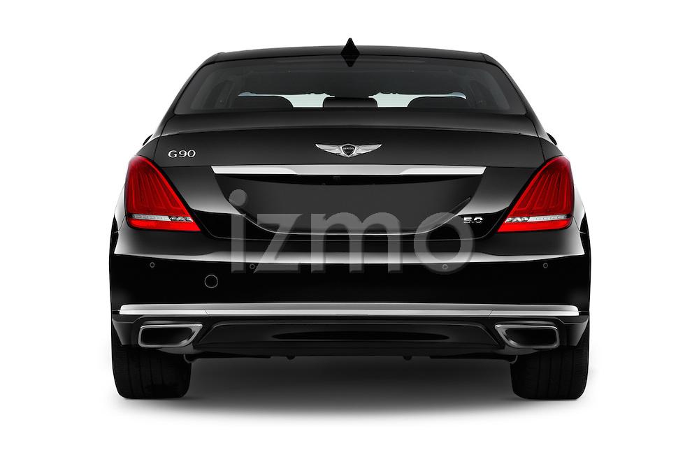 Straight rear view of 2018 Genesis G90 Ultimate 4 Door Sedan Rear View  stock images