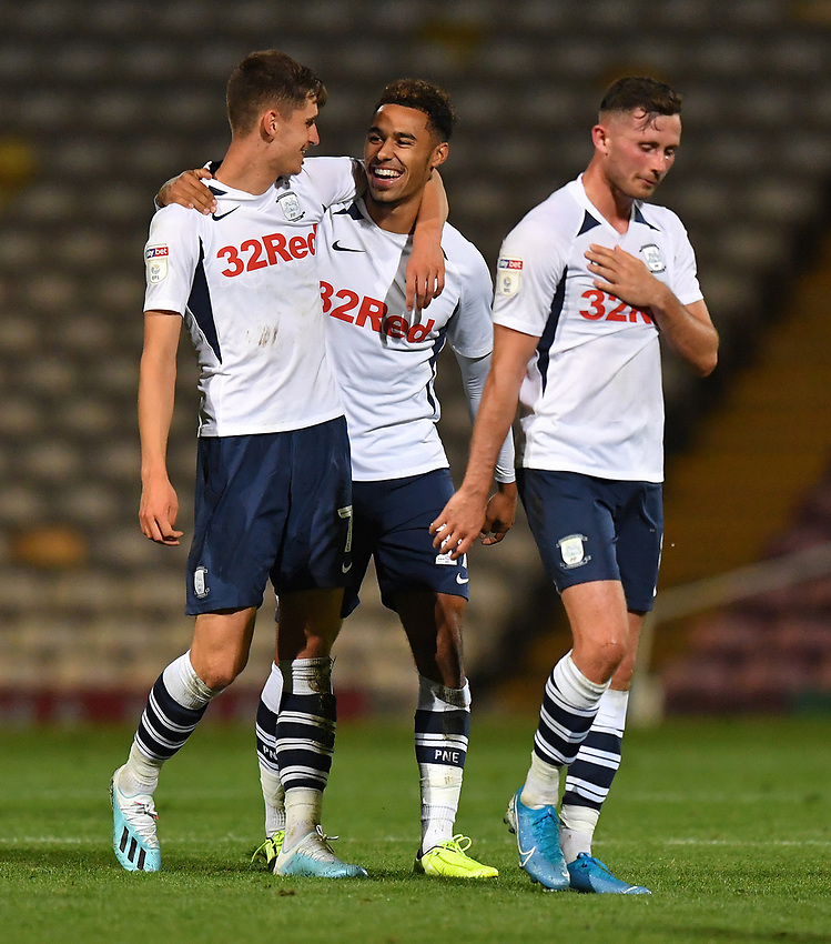 Preston North End's Tom Bayliss and Josh Ginnelly celebrate the victory<br /> <br /> Photographer Dave Howarth/CameraSport<br /> <br /> The Carabao Cup First Round - Bradford City v Preston North End - Tuesday 13th August 2019 - Valley Parade - Bradford<br />  <br /> World Copyright © 2019 CameraSport. All rights reserved. 43 Linden Ave. Countesthorpe. Leicester. England. LE8 5PG - Tel: +44 (0) 116 277 4147 - admin@camerasport.com - www.camerasport.com