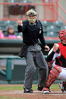 Umpire Brian De Brauwere makes a call during a game between the Bowie Baysox and Erie Seawolves on April 23, 2013 at Jerry Uht Park in Erie, Pennsylvania.  Erie defeated Bowie 4-1.  (Mike Janes/Four Seam Images)