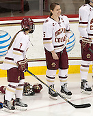 Kristyn Capizzano (BC - 7), Alex Carpenter (BC - 5) - The Boston College Eagles defeated the visiting Providence College Friars 7-1 on Friday, February 19, 2016, at Kelley Rink in Conte Forum in Boston, Massachusetts.