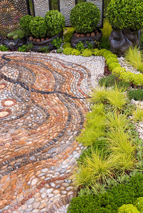 Crazy paving patio stones with ornamental grasses and boxwood Buxus foundation shrubs in containers and plantings, sagina moss, sempervivum succulents, for interesting groundcovers and curb appeal