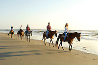 A group of horse riders make their way along the beach at sunrise in Amelia Island, FL