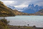View of Lake and Paine Massif Mountains in Torres del Paine National Park in Patagonia Chile