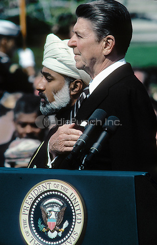 Washington, DC., USA, April 12, 1983<br /> President Ronald Reagan hosts Sultan Qaboos bin Said of Oman at the White House. Credit: Mark Reinstein/MediaPunch