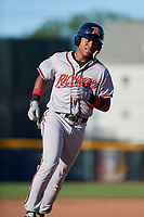 Richmond Flying Squirrels Jalen Miller (1) rounds the bases after hitting a home run during an Eastern League game against the Erie SeaWolves on August 28, 2019 at UPMC Park in Erie, Pennsylvania.  Richmond defeated Erie 6-4 in the first game of a doubleheader.  (Mike Janes/Four Seam Images)