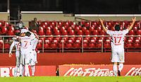 SAO PAULO, SP, 29 MAIO 2013 - CAMP. BRASILEIRO - SAO PAULO X VASCO  - Luis Fabiano jogador do São Paulo é abraçado por companheiros apos marcar o seu segundo gol durante partida contra o Vasco jogo valido pela segunda rodada do Campeonato Brasileiro no Estádio Cicero Pompeu de Toledo o Morumbi, na noite desta quarta-feira, 29. (FOTO: WILLIAM VOLCOV / BRAZIL PHOTO PRESS).